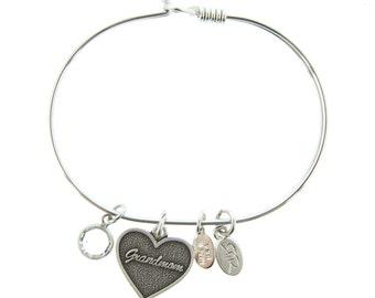 Silver Grandmom Bracelet with Swarovski Crystal