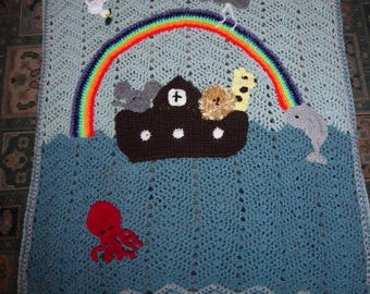 UNIQUE hand-crocheted Noah's Ark blanket