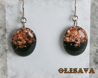 Resin oval glitter earrings , Resin Jewelry , Resin glitter Jewelry , resin earrings