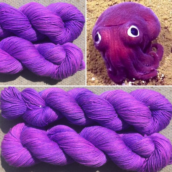 Sparkly Squid, merino nylon purple UV reactive indie dyed sock yarn with silver stellina