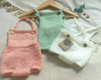Newborn and baby adjustable Overall/Romper - knitting baby outfit - newborn and baby photo props