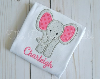 Custom Elephant Baby Outfit for Baby Girl in Grey and Pink, Elephant Nursery, Elephant Baby Shower, Elephant Applique, Baby Elephant, Gift
