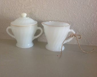 Vintage Milk Glass/Ancker Hocking/Gold Rim, Creamer and Sugar set
