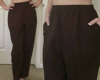 Brown Retro High Waisted Trousers / Size 8