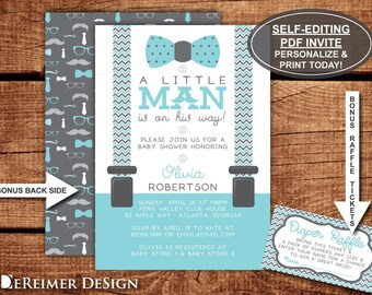 Little Man Baby Shower Invitation, Bow Tie, Aqua, Baby Blue, Teal, Gray, Chevron, Self-Editing PDF Invite, BONUS Diaper Raffle Tickets