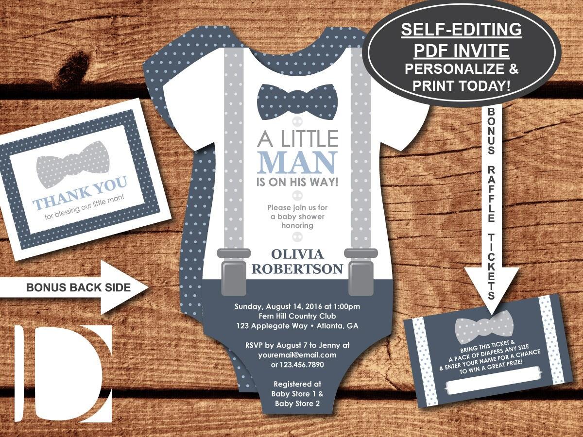 Little Man Baby Shower Invitation Onesie Bow Tie