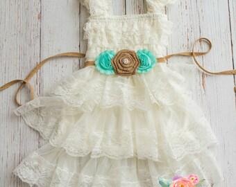 lace flower girl dress-rustic flower girl dress- lace girls dress- lace baby dress- Burlap wedding dress- country flower girl- girls dress