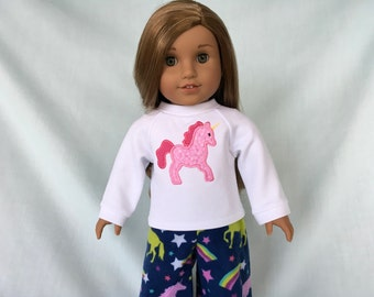 Pink Unicorn Pajamas and Optional Slippers for American Girl/18 Inch Doll