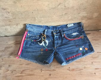 Vintage denim hot pants, jeans shorts handmade embroidered, ibiza style, summer clothes