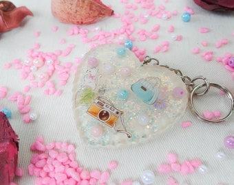 Lovely Heart Shape Keychain, Sweet, Gift, Resin, Deer, Girl