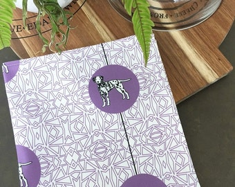 Dalmatian Dog Breed Tea Towel -  Dalmatian dog dish cloth, kitchen gift - in Purple and White