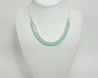 Breakfast at Tiffany, pearl choker, Mothers Day gift, something blue ideas, bridesmaid jewelry, bridesmaids jewelry, Tiffany blue wedding