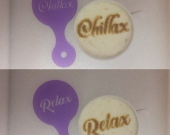 Chillax and Relax coffee cup stencils reusable gift fundraising cafe   cappuccino latte