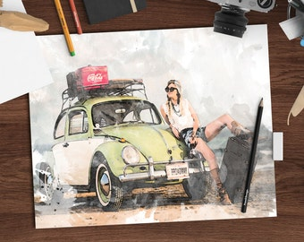 Retro watercolor print girl on the road, 8x10 printable art download, vintage watercolor art print, digital wall hanging,wall decor Route 66
