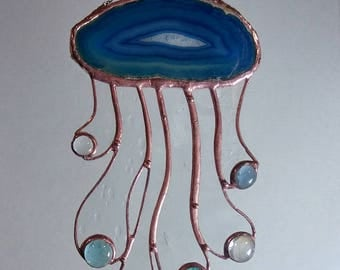 """Stained glass art panel,'Let There Be Jellyfish 2"""", Stained glass sun catcher, Suncatcher, jellyfish, octopus, squid, free shipping"""