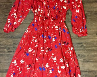 Vintage 80s red floral ruffled dress