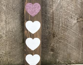 Glitter Hearts Wood Sign