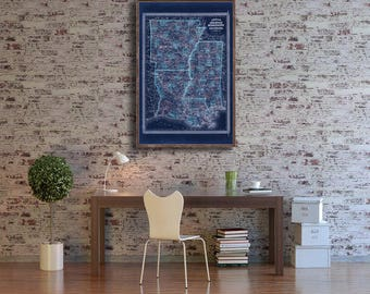 "1870 Johnson's Arkansas Mississippi Louisiana Vintage map reprint -4 large/XL sizes up to 54"" x 36"" -in 3 three colors"