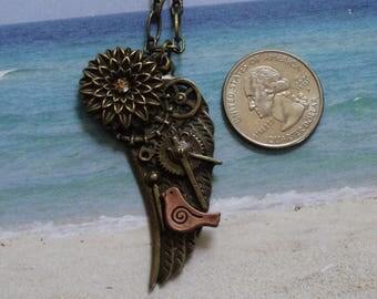 """Steampunk Jewelry, Steampunk Necklace, Angel Wing Pendant, Bronze Necklace, Vintage Inspired, Pendant, Steampunk, Victorian Era, 30"""""""