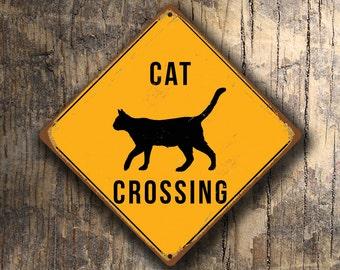 CAT CROSSING SIGN - Cat Crossing Signs, Warning Cat Crossing, Cat Signs, Cat Lovers, Gifts for Cat lovers, Cat Xing, Yellow Xing Signs, Cats