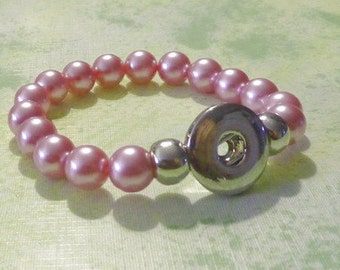 Light Pink Pearl Elastic Bracelet for Snap-It Charms