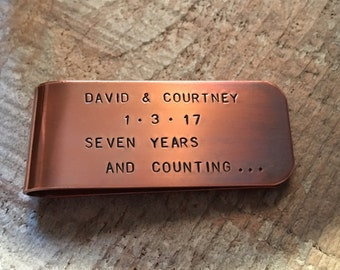 7 Years And Counting Copper Money Clip, Anniversary Gift, Copper Anniversary, Gift For Men, Gift For Husband, Personalized Money Clip