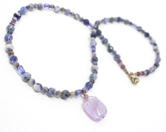Amethyst and Sodalite Necklace, Denim Blue Beaded Layering Necklace, Gemstone Necklace