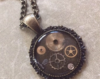 Round Steampunk Gears Resin Necklace Pendant (or Keychain) Unusual Repurposed Upcycle