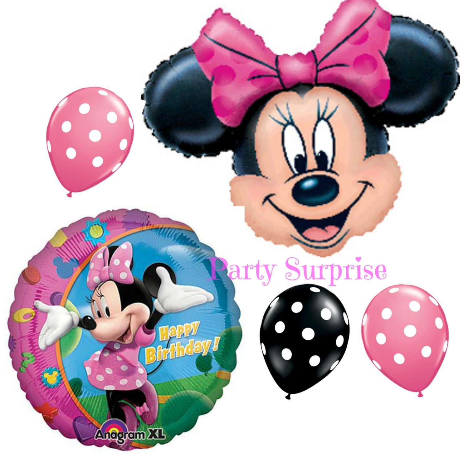 Minnie mouse balloons minnie mouse birthday party for Balloon decoration minnie mouse