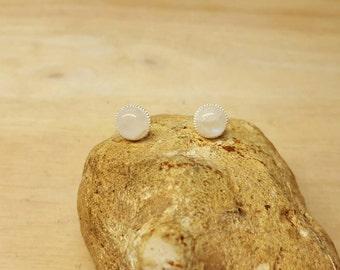 Rainbow Moonstone Stud earrings. 925 sterling silver. Reiki jewelry uk. June birthstone. 8mm round stone
