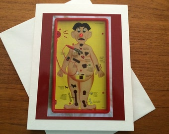 Get Well Greeting Card - Surgery - Operation - Laughter Is The Best Medicine - Positive - Hip Replacement - Knee Replacement - Broken Bone