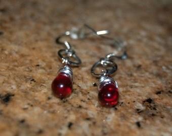 Ruby Red Wire-wrapped Teardrop Earrings