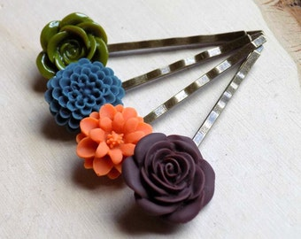 Bronze Flower Bobby Pins, Flower Hair Clips, Flower Hair Pins, Flower Hair Accessories, Gifts for Girls, Hair Jewelry, Resin Flower