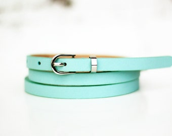 Free shipping! Leather belt, blue belt, womans belt, waist belt, light blue belt, gift idea, thin belt, skinny belt