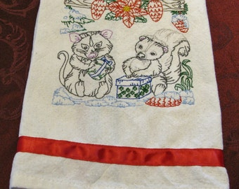 Embroidered Tea Towel, Kitchen Towel, Dish Towel, Winter Animals, Chef Towel, Gift Towel