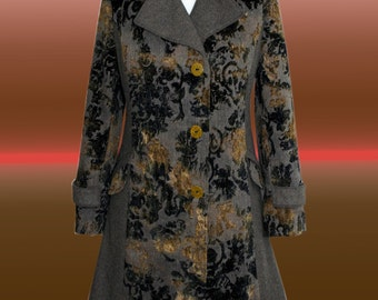 Herringbone coat with paisleymuster. Gray, Black, Green. UK 14, US 12, L