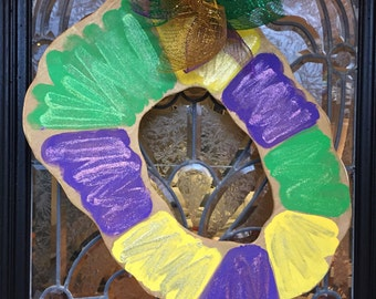 Wooden King Cake Mardi Gras Door Hanger