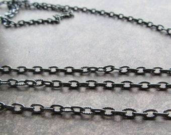 3m of Iron Cross Chain 6.5 x 4mm Links Black Gun Metal