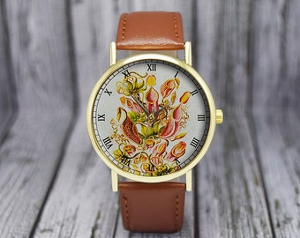 Vintage Pitcher Plant Watch | Botanical | Classic Style | Men's Watch | Women's Watch | Birthday | Wedding | Gift Ideas | Fashion Accessory