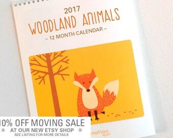 SALE 25% OFF - 2017 Calendar- Wall Calendar- Monthly calendar- 2017 Wall Calendar- Woodland Animals- Fox- Animal art-Wall Art -Woodland art