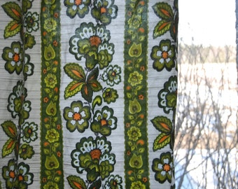 70's flower curtains, two pieces