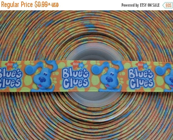 "SUPER SALE BLUES Clues 7/8"" 22mm Grosgrain Hair Bow Craft Ribbon 782812"