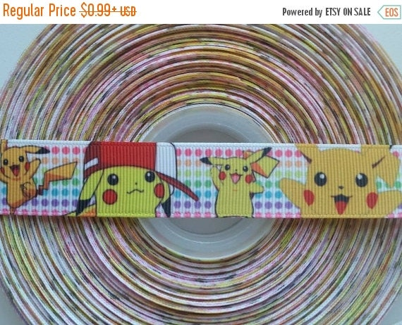 "SUPER SALE PIKACHU Pokemon 7/8"" Grosgrain Hair Bow Craft Ribbon 782594"