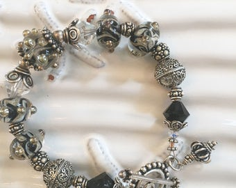 Handmade Crystal Clear and Black Lampwork Beaded Bracelet 8 Inches
