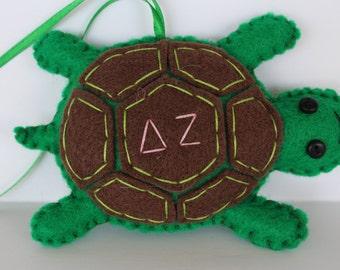 Delta Zeta Ornament, Felt Turtle Ornament, Sorority Ornament,  Embroidery Sorority Ornament, Turtle Ornament, Christmas Ornament, Delat Zeta