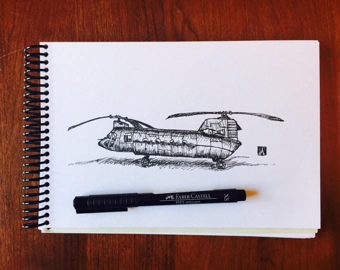 KillerBeeMoto: Original Pen Sketch of Boeing Chinook CH-47