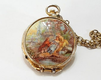 Vintage, Pocket Watch, Pendant, Cameo, Necklace, Enamel, 17j, Geneva, Gold, Renaissance, Steampunk, Jewelry, Beading, Supply, Supplies
