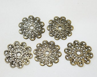 Antique Brass, Bronze, Filigree, Stamping, Earring, Ring, Lot, Round, Steampunk, Mixed Media, Jewelry, Beading, Supplies