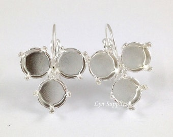 8mm ss39 Inverted Triangle Earrings Base Silver Plated Leverback Earrings Settings, Nickel Free