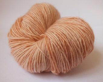 hand dyed yarn, single merino, sock weight, pink, natural dye, madder